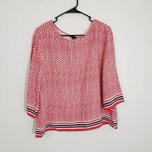 Ann Taylor Women's 3/4 Sleeves RedBlouse Size XL